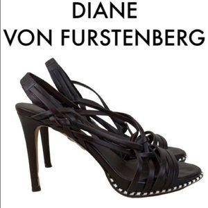 DIANE VON FURSTENBERG BROWN SANDAL HEELS SIZE 7.5